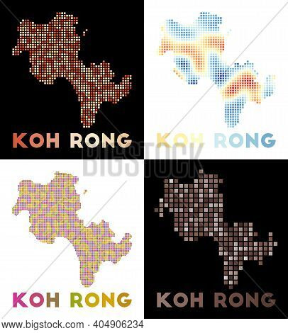 Koh Rong Map. Collection Of Map Of Koh Rong In Dotted Style. Borders Of The Island Filled With Recta