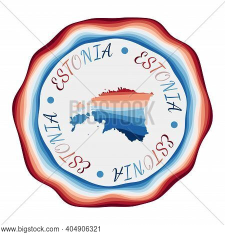 Estonia Badge. Map Of The Country With Beautiful Geometric Waves And Vibrant Red Blue Frame. Vivid R