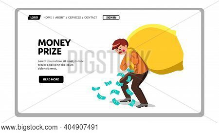 Money Prize Lottery Carrying Boy In Bag Vector