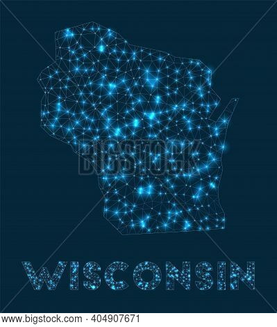 Wisconsin Network Map. Abstract Geometric Map Of The Us State. Internet Connections And Telecommunic