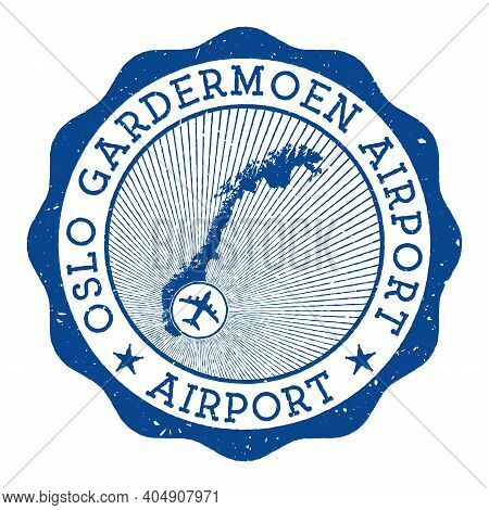 Oslo Gardermoen Airport Airport Stamp. Airport Of Oslo Round Logo With Location On Norway Map Marked