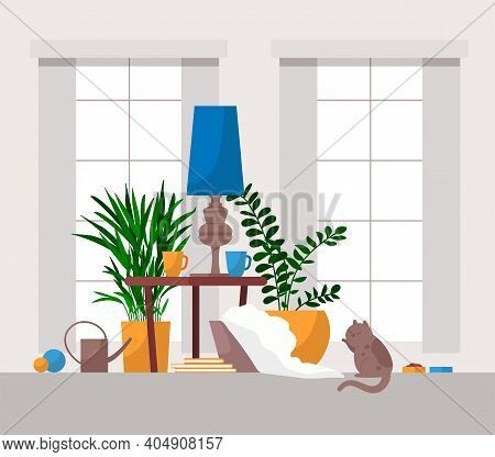 Cozy Living Room Interior With A Cat Peeping Out Of A Panoramic Window, Houseplants, Interior Items,