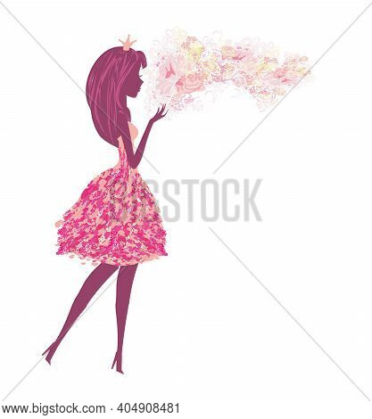 Isolated Silhouette Of A Beautiful Fairy , Vector Illustration