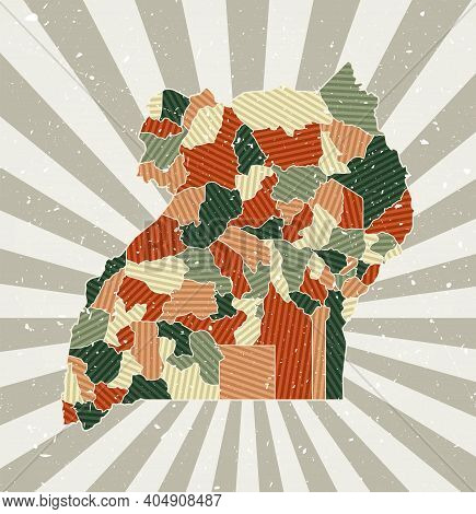 Uganda Vintage Map. Grunge Poster With Map Of The Country In Retro Color Palette. Shape Of Uganda Wi