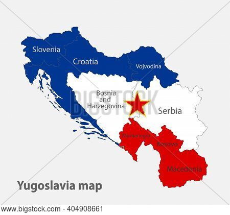 Map Of The Yugoslavia In The Colors Of The Flag With Administrative Divisions Vector