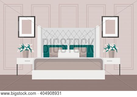 Luxurious Bedroom In A Classic Style, Large Bed With A Headboard, Bedside Table, Vase Of Flowers. Ho