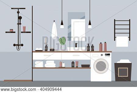 Modern Bathroom. Deluxe Hotel Room, Spa Salon, Suite.  Washing Machine, Shower, Towel Dryer, Lights,