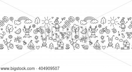 Happy Children In Summer Park. Funny Small Kids Play, Run And Jump. Background In Kid Doodle Style.