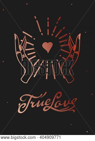 True Love Web Banner, Esoteric Valentines Day Card. Magic Hand Drawn, Doodle, Sketch Line Style. Vec