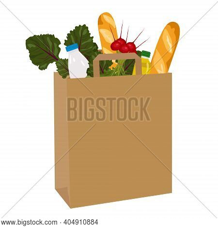 Kraft Paper Bag With Fresh Food Such As Vegetables, Baguette, Milk, Olive Oil. Vector Illustration.