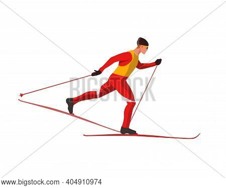 A Skier In Red Sportswear Is Skiing Using Ski Poles And Skis. Vector Flat Design Illustration Isolat