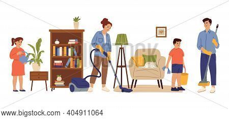 People Cleaning Home. Family Living Room, Mom Daughter Doing House Work. Householding, Kids Adult Ho