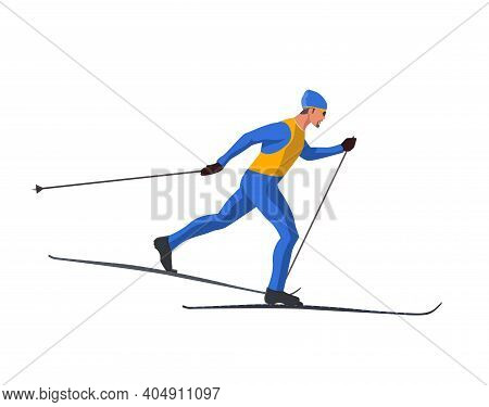 A Skier In Blue Sportswear Is Skiing Using Ski Poles And Skis. Vector Flat Design Illustration Isola