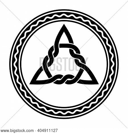 Interwoven Triquetra, A Celtic Knot, In A Circle Frame With White Wavy Line. Triangular Figure, Used