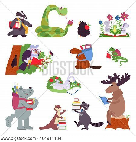 Smart Animals. Wild Animal With Books, Funny Forest Characters Read. Isolated Cartoon Clever Owl, Ra