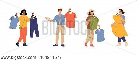 Fashion People. Person Choose Clothes, Man Woman Think About New Apparel. Isolated Cartoon Character