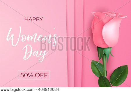 Women Day Poster. Sale Banner, Pink Rose 8 March Background. Mother Daughter International Holiday,