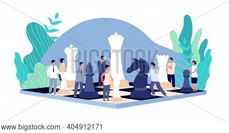 Chess Game. Chess Board, Strategy Tactics And Cooperation. People Holding Rook Queen Pawn. Managemen