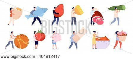 Tiny People With Food. Flat Foods, Friends Cooking Garden Vegetables. Female Eating And Products Pre