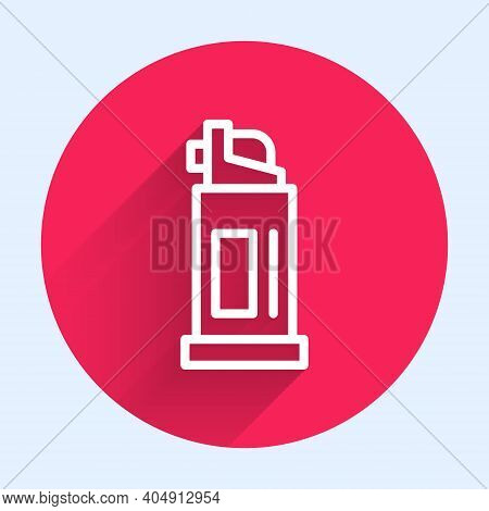White Line Pepper Spray Icon Isolated With Long Shadow. Oc Gas. Capsicum Self Defense Aerosol. Red C