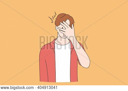 Shock, Surprise, Embarrassed Emotion Concept. Young Man Cartoon Character Wearing Casual Clothing Pe