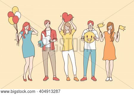 Positive Thinking And Emotions Concept. Smiling Happy Young People Cartoon Characters Standing In Li