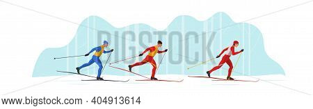 Skiers In Sportswear Are Skiing Using Ski Poles And Skis. Athletes Participate In Winter Sports Comp