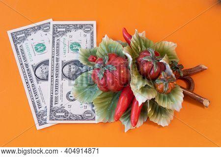 Artificial Vegetables Lie On Dollar Bills, Ceramics, Symbol Of Success