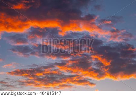 Sunrise Bright Dramatic Sky. Scenic Colorful Sky At Dawn. Sunset Sky Natural Abstract Background In