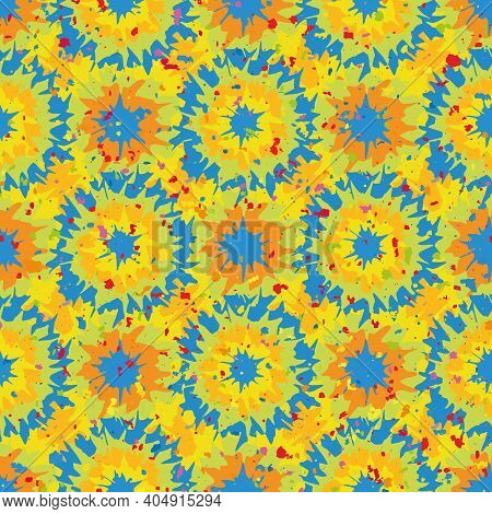 Tie Dye Effect Abstract Seamless Vector Pattern Background. Geometric Backdrop With Circle Shapes. T