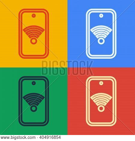 Pop Art Line Smartphone With Free Wi-fi Wireless Connection Icon Isolated On Color Background. Wirel
