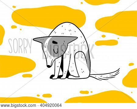 The Funny Dog Is Sad And Apologizes For The Bad Behavior. The Puppy Pissed On The Floor And Made Man