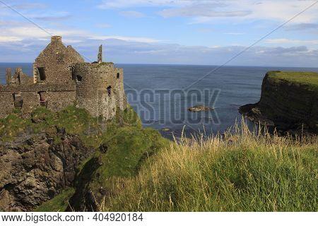 Antrim (ireland), - July 21, 2016: Dunluce Castle, Antrim Coast, Co. Antrim, Ireland