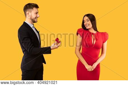Wedding Proposal. Man Proposing To Girlfriend Asking Her Hand Showing Engagement Ring Standing Over