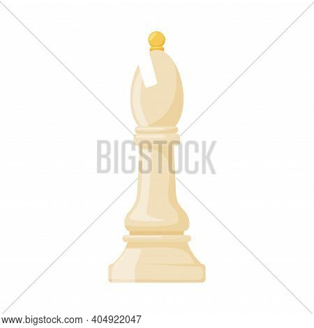 White Bishop As Chess Piece Or Chessman Vector Illustration