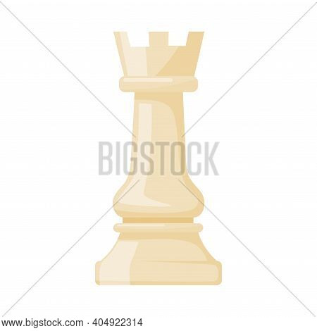 White Rook As Chess Piece Or Chessman Vector Illustration