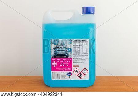 Pruszcz Gdanski, Poland - January 22, 2021: Stapar Bottle Of Blue Antifreeze Windshield Washer Fluid