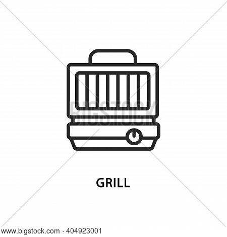 Electric Grill Flat Line Icon. Vector Illustration Kitchen Appliances