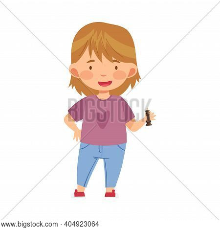 Funny Girl Holding Chessman Or Chess Piece With Hand Vector Illustration