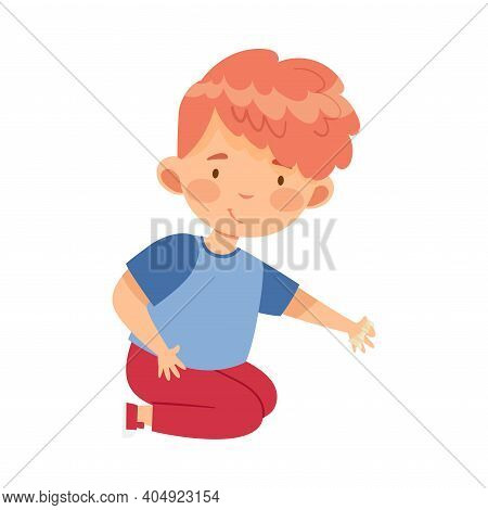 Redhead Boy Holding Chessman Or Chess Piece With Hand Vector Illustration