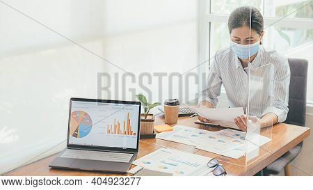 Asian People Successful Teamwork Business Wearing Medical Mask And Working. Work From Private Office
