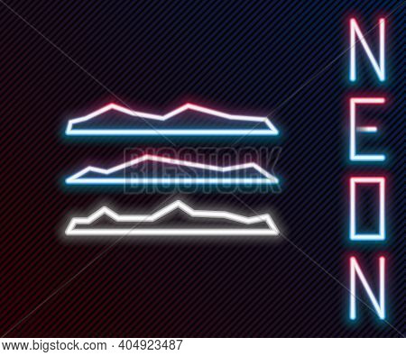 Glowing Neon Line Strips Of Cocaine Or Heroin Drug Icon Isolated On Black Background. Colorful Outli