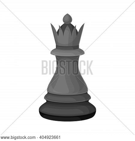 Black Queen As Chess Piece Or Chessman Vector Illustration