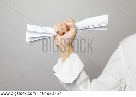 Raise Your Hand Crumpled Paper, Looks Like An Office Worker, Close Up.