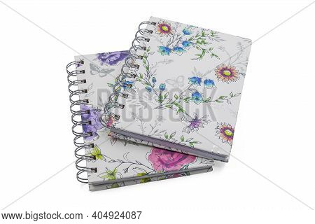 Two Spiral Notebooks Isolated On White Background, Studio Shot