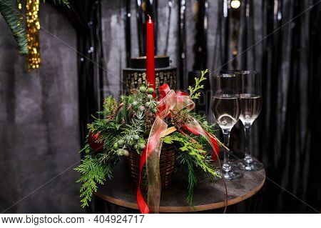 Two Glasses Of Champagne. Party Time. Dinner Table Setting. Luxury Romantic Candlelight Dinner Table