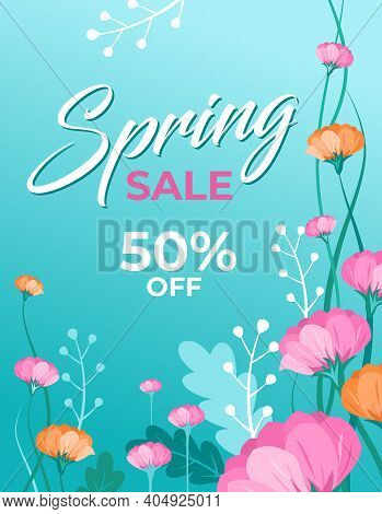 Spring Sale Banner With Beautiful Flowers. Stems, Leaves And Blossoms In The Blue Spring Sky Backgro