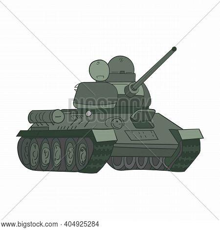 Ussr Army Equipment, Legendary T-34 Tank Vector Sketch