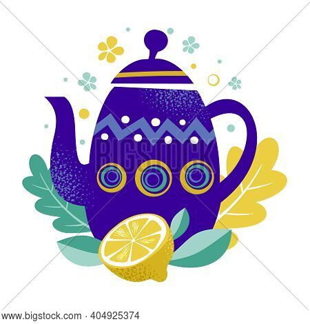 Tea Time Vector Illustration. Teapot With Abstract Pattern And Lemon Fruit. Blue Teapot On The Leave