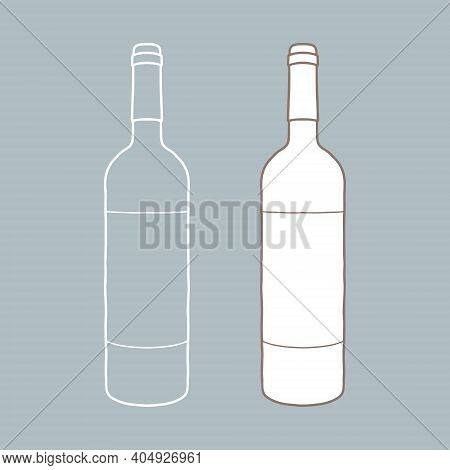 Wine Bottle With Label Mockup. Hand Drawn Vector Illustration. It Can Serve As A Layout For Future D